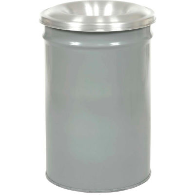 Justrite Cease-Fire® Steel Round Trash Can W/Funnel Lid, 12 Gallon, Gray