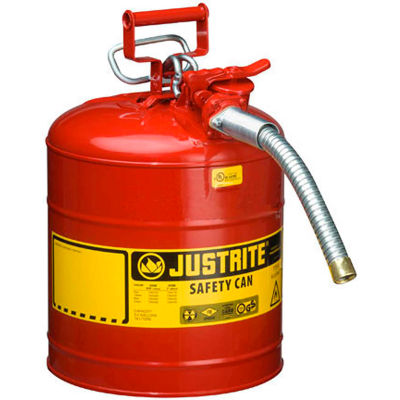 """Justrite® Type II AccuFlow™ Steel Safety Can - 5 Gallon, With 1"""" Metal Hose, 7250130"""
