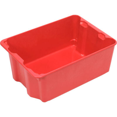 """Molded Fiberglass Nest and Stack Tote 780608 - 25-1/4"""" x 18"""" x10"""", Pkg Qty 5, Red - Pkg Qty 5"""