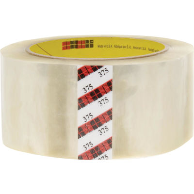 "3M™ 375 Carton Sealing Tape 2"" x 55 Yds. 3.1 Mil Clear - Pkg Qty 36"