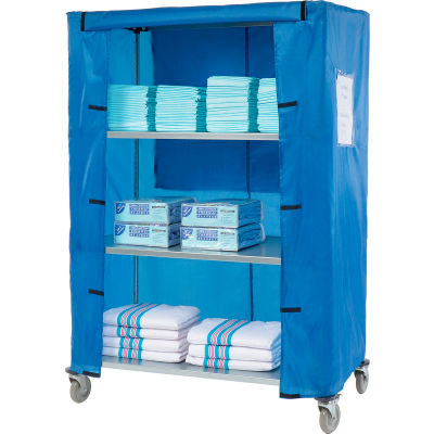 "Nexel® Galvanized Steel Linen Cart with Nylon Cover, 4 Shelves, 48""L x 24""W x 69""H"