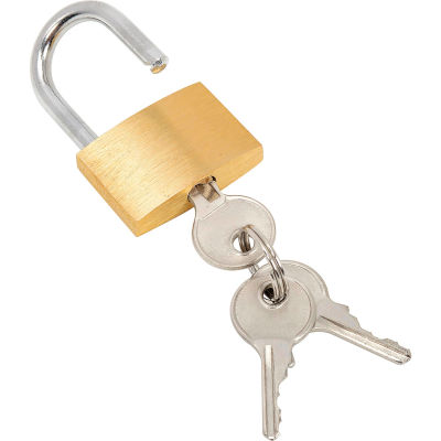 Global Industrial™ Brass Padlock With 3 Keys - Keyed Differently
