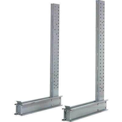 """Cantilever Rack simple face verticale (série 2000), 50"""" D x 10' H, 10300 Lbs capacité"""