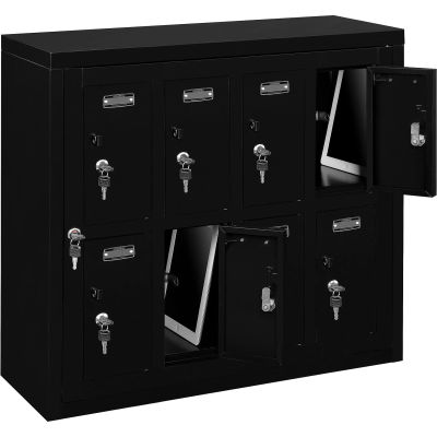 "Global Industrial™ 8 Door Device Locker W/Key Lock, 28-1/2""Wx11-1/4""Dx26-3/4""H, Black,Assembled"