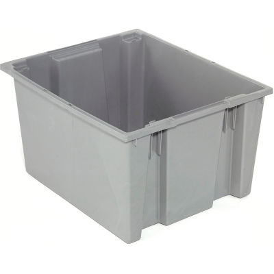 Global Industrial™ Stack and Nest Storage Container SNT225 No Lid 23-1/2 x 19-1/2 x 10, Gray - Pkg Qty 3