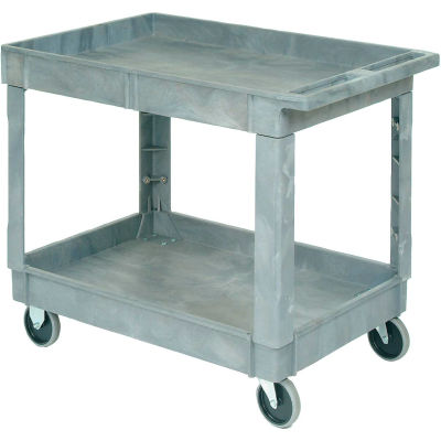 "Global Industrial™ Standard Tray Top Plastic Utility Cart, 2 Shelf, 40""Lx26""W, 5"" Casters, Gray"
