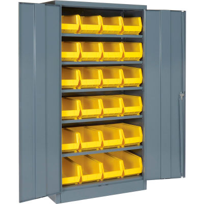 """Locking Storage Cabinet 36""""W X 18""""D X 72""""H With 24 Yellow Stacking Bins and 6 Shelving Assembled"""