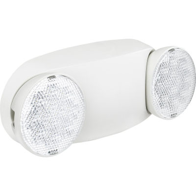 Global Industrial™ 2 Head Round LED Emergency Light w/ Adjustable Optics, Ni-Cad Battery Backup