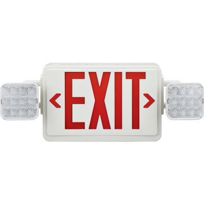 Global Industrial™ Combo LED Emergency Exit Sign, Lettres Rouges, Plafond et Mont de Mur