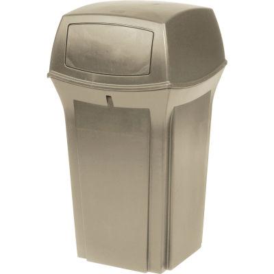 Rubbermaid® Plastic Square 2 Door Trash Can, 35 Gallon, Beige