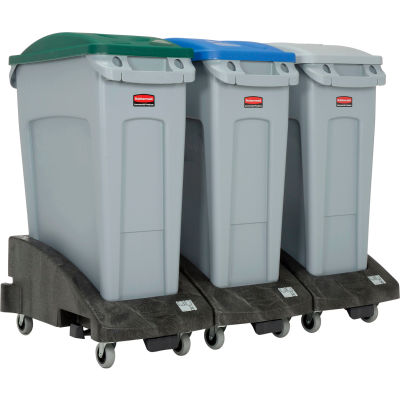 Rubbermaid Slim Jim Recycling Center For Bottles/Cans/Paper, 48 Gallon, Gray