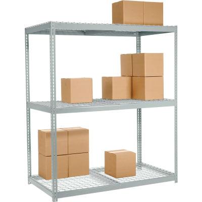 Global Industrial™ Wide Span Rack 60Wx48Dx96H, 3 Shelves Wire Deck 1200 Lb Cap. Per Level, Gray