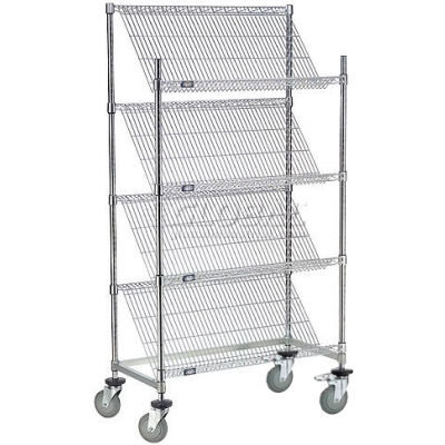 """Slant Wire Shelving Truck - 4 Shelves With Brakes - 36""""W x 24""""D x69""""H"""