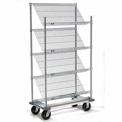 """Slant Wire Shelving Truck - 4 Shelves With Dolly Base - 48""""W x 18""""D x 70""""H"""
