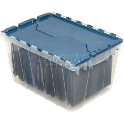 "Akro-Mils® Clear Attached Lid Container 66486FILEB w/File Rails - 21-1/2""L x 15""W x 12-1/2""H - Pkg Qty 6"