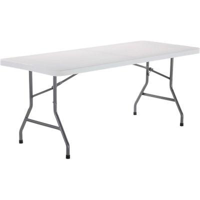 Interion® 6' Plastic Folding Table - White
