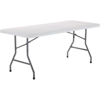 Interion® Plastic Folding Table, 30» x 72», Blanc