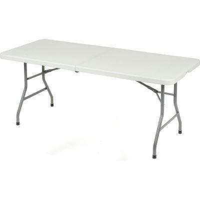 "Interion® Fold-In-Half Plastic Table, 30"" x 72"", White"