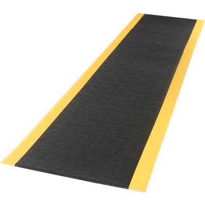 "Apache Mills Soft Foot™ Anti Fatigue Mat 3/8"" Thick 3' x 60' Black/Yellow Border"