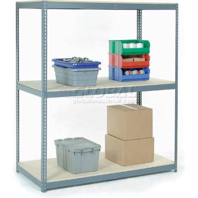 Global Industrial™ Wide Span Rack 96Wx36Dx84H, 3 Shelves Wood Deck 1100 Lb Cap. Par niveau, gris