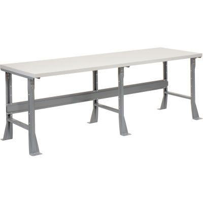 Global Industrial™ 96 x 30 x 34 Fixed Height Workbench Flared Leg - Laminate Square Edge Gray