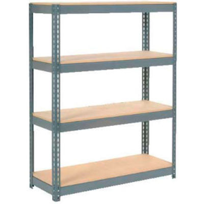 "Global Industrial™ Extra Heavy Duty Shelving, Wood Deck, 4 Shelves, 48""Wx24""Dx72""H, Gray"