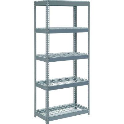 """Global Industrial™ Extra Heavy Duty Shelving 36""""W x 24""""D x 60""""H With 5 Shelves, Wire Deck, Gry"""