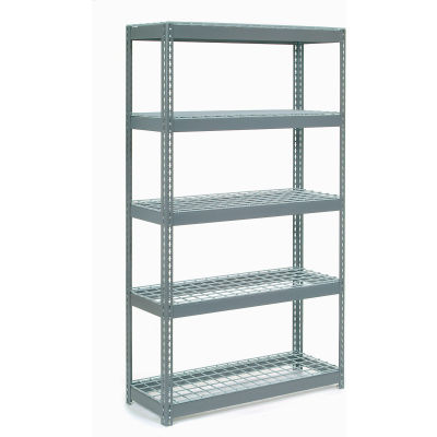 """Global Industrial™ Extra Heavy Duty Shelving 48""""W x 24""""D x 60""""H With 5 Shelves, Wire Deck, Gry"""
