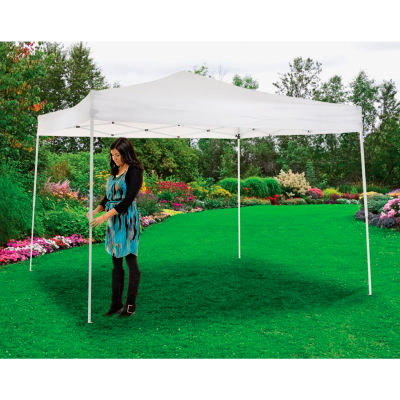 "Global Industrial™ Portable Straight Leg Pop Up Canopy, 10'L x 10'W x 10'1""H, Blanc"