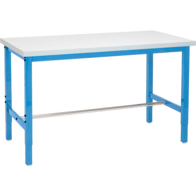 Global Industrial™ 60 x 30 Adjustable Height Workbench Square Tube Leg - ESD Square Edge - Blue