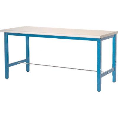 Global Industrial™ 60 x 30 Adj Height Workbench Square Tubular Leg, Laminate Square Edge - Blue