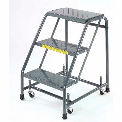 "Perforé 16""W 3 Step Steel Rolling Ladder 10""D Top Step - 318P"