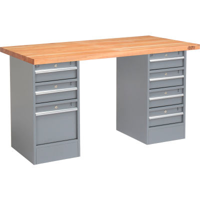 Global Industrial™ 96 x 30 Pedestal Workbench - 7 Drawers, Maple Block Square Edge - Gris
