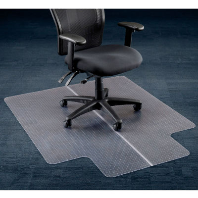 "Interion® Office Chair Mat for Carpet - 46""W x 60""L with 25"" x 12"" Lip - Straight Edge"
