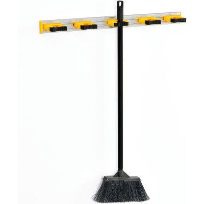 Serpillière et porte-balaiGlobal Industrial™, gris/noir/jaune,27-1/2 po, 5 broches