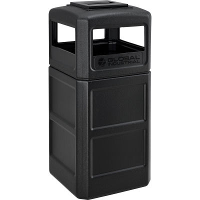 Global Industrial™ Square Plastic Waste Receptacle With Ashtray Lid, 42 Gallon, Black