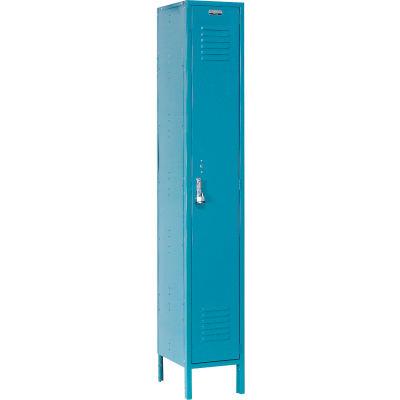"""Global Industrial™ Single Tier 1 Door Extra Wide Locker, 15""""Wx18""""Dx72""""H, Blue, Unassembled"""