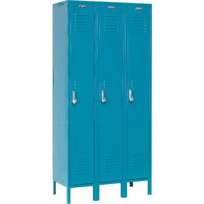 """Global Industrial™ Single Tier 3 Door Extra Wide Locker, 15""""Wx18""""Dx72""""H, Blue, Unassembled"""
