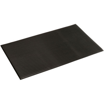 """Apache Mills Soft Foot™ Ribbed Surface Mat 3/8"""" Thick 3' x Up to 60' Black"""