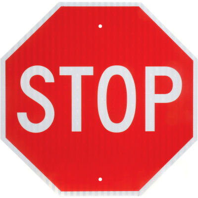 """Global Industrial™ Aluminum Sign - Stop - .080"""" Thick, White/Red, 652645"""