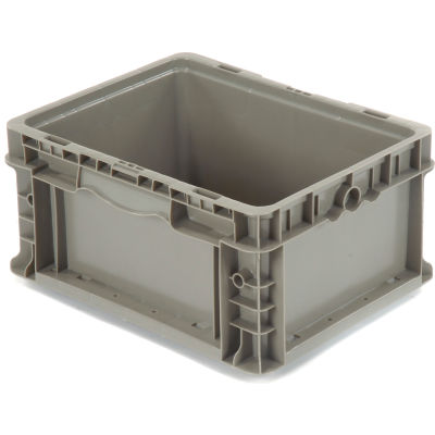"Global Industrial™ Stackable Straight Wall Container, Solid, 12""Lx15""Wx7-1/2""H, Gray"