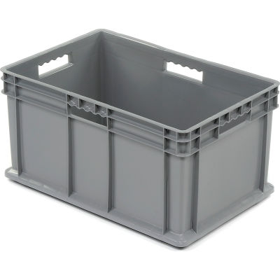 "Global Industrial™ Solid Straight Wall Container, 23-3/4""Lx15-3/4""Wx12-1/4""H, Gray - Pkg Qty 3"