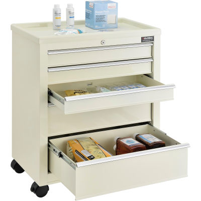 "Global Industrial™ 5-Drawer Medical Bedside Cart W/ Key Lock, 24-1/2""L x 13-1/4""W x 29""H, Beige"