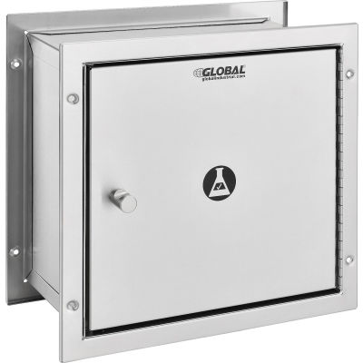 "Global Industrial™, Recessed Specimen Pass-Thru Stainless Steel Cabinet, 12-3/4"" x 6"" x 13-1/4"""