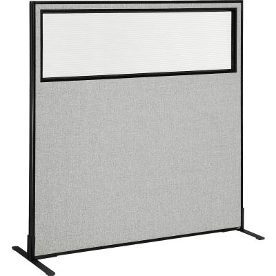 """Interion® Freestanding Office Partition Panel with Partial Window, 60-1/4""""W x 60""""H, Gray"""
