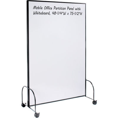 """Interion® Mobile Office Partition Panel with 2-sided Whiteboard, 48-1/4""""W x 75-1/2""""H"""