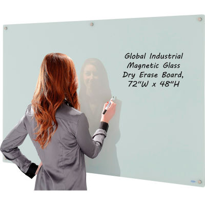 "Global Industrial™ Wall-Mounted Magnetic Glass Whiteboard, 72""W x 48""H"