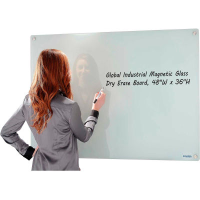"""Global Industrial™ Wall-Mounted Magnetic Glass Whiteboard, 48""""W x 36""""H"""