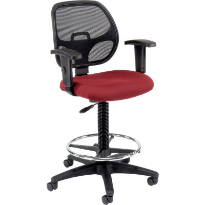 Interion® Drafting Stool - Tissu - Rouge