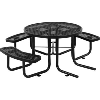 """Global Industrial™ 46"""" Wheelchair Accessible Round Outdoor Steel Picnic Table, Black"""